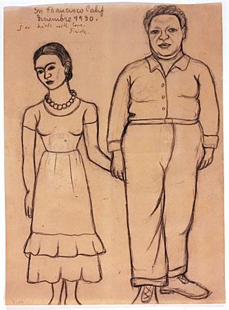 """Frida Khalo: """"Diego y yo """" (boceto)"""