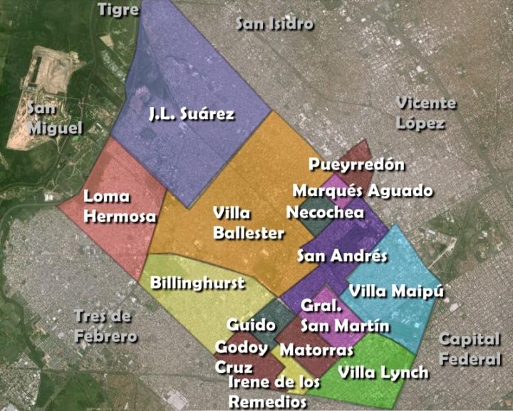 Mapa del Partido de San martín, Provincia de Buenos Aires