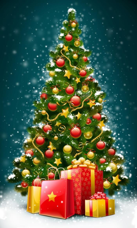 árbol de navidad y regalos