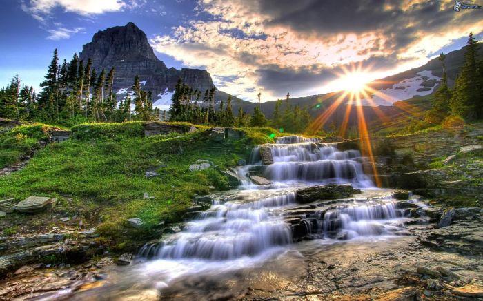 glacier national park, montana, usa, ruscello, alberi di conifere, montagna, raggi del sole, sole 148899